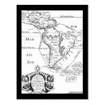 Postal del mapa del tesoro de los piratas