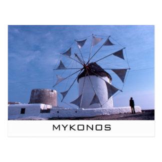 Postal del molino de viento de Mykonos