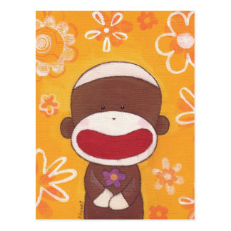 Postal del mono del calcetín de la flor