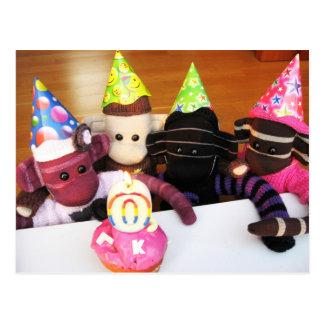 Postal del mono del calcetín de Marte - cumpleaños