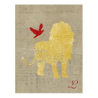 Postal del monograma de la silueta del león del