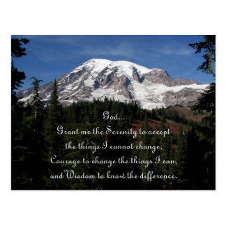 Postal del Monte Rainier del rezo de la serenidad