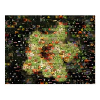 Postal del mosaico de la flor del hibisco