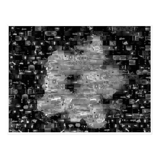 Postal del mosaico de la flor del hibisco (blanco