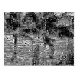 Postal del mosaico de la palmera (negro y blanco)