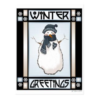 Postal del muñeco de nieve #2 de los saludos del i