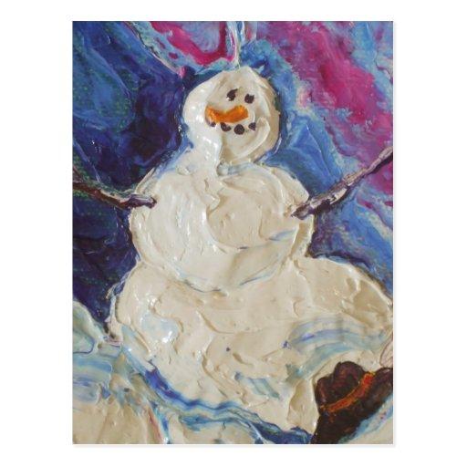Postal del muñeco de nieve del invierno