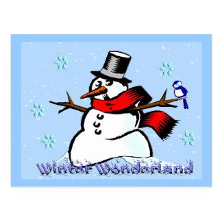 Postal del muñeco de nieve del país de las