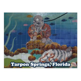 Postal del mural del buceador de la esponja de Tar