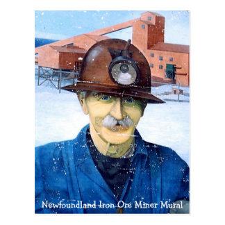 Postal del mural del minero de Terranova