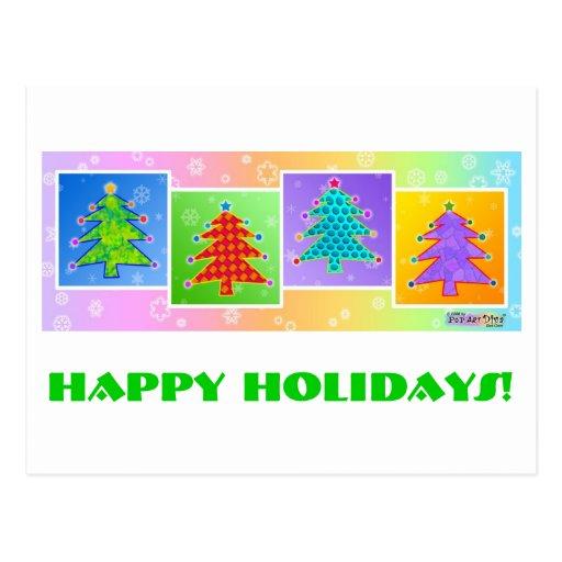 Postal del navidad - árboles de navidad del arte