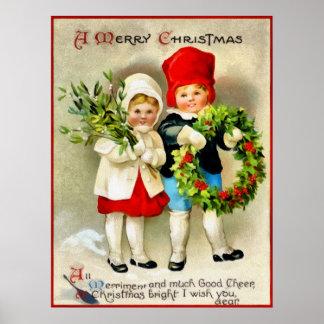 Postal del navidad de Clapsaddle Póster