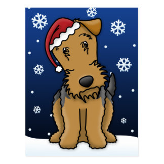 Postal del navidad de Kawaii Airedale Terrier