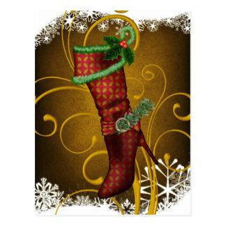 Postal del navidad de la bota del día de fiesta