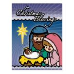 Postal del navidad de la natividad de las bendicio