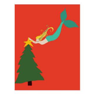 Postal del navidad de la sirena