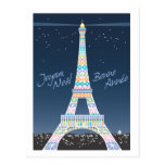 Postal del navidad de la torre Eiffel