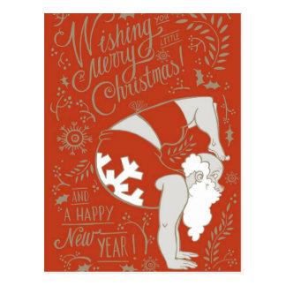 Postal del navidad de la yoga de Santa