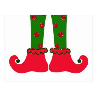 Postal del navidad de las piernas del duende