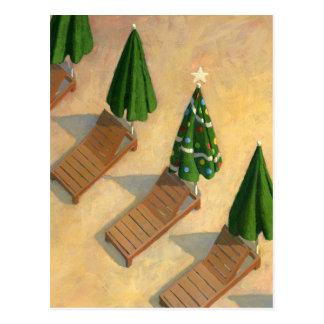 Postal del navidad de las sillas de playa
