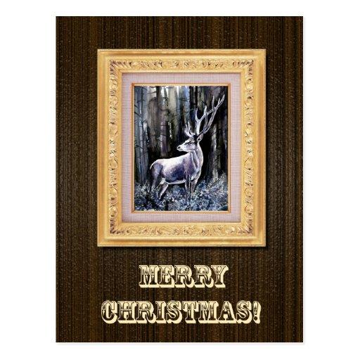 Postal del navidad de los ciervos