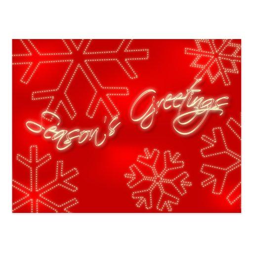Postal del navidad de los copos de nieve:: Saludos