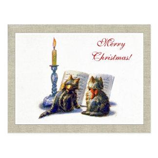 Postal del navidad de los gatos del vintage