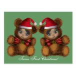 Postal del navidad de los gemelos de Santa del oso