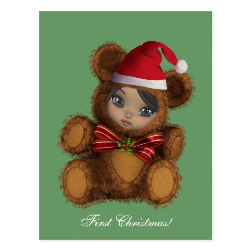 Postal del navidad de Santa del oso del bebé prime
