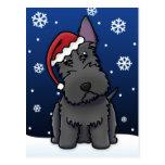 Postal del navidad de Terrier del escocés de Kawai