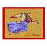 Postal del navidad del ángel del renacimiento del
