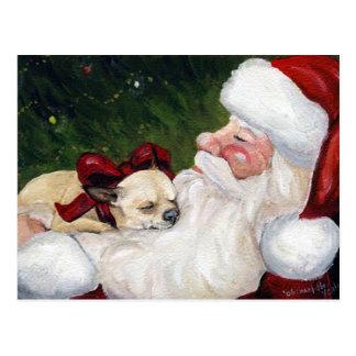 Postal del navidad del arte del perro de la