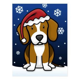 Postal del navidad del beagle de Kawaii