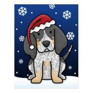 Postal del navidad del Coonhound de Kawaii Bluetic