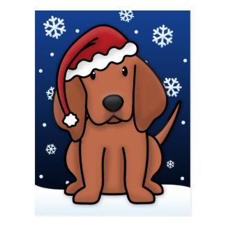 Postal del navidad del Coonhound de Kawaii Redbone