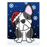 Postal del navidad del dogo francés de Kawaii (B&W