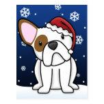 Postal del navidad del dogo francés de Kawaii (bla