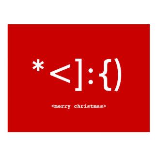 Postal del navidad del Emoticon de Santa del friki