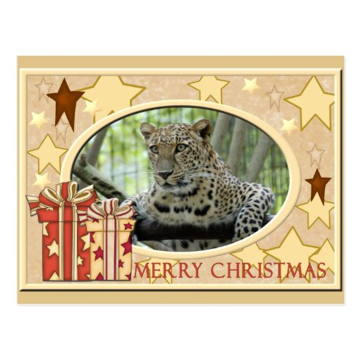 Postal del navidad del leopardo