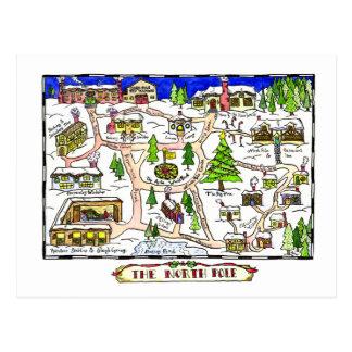Postal del navidad del mapa de Polo Norte