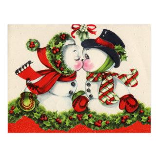 Postal del navidad del muñeco de nieve del vintage