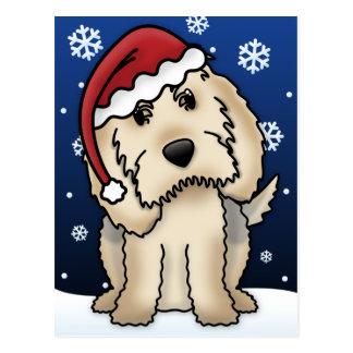 Postal del navidad del Otterhound de Kawaii