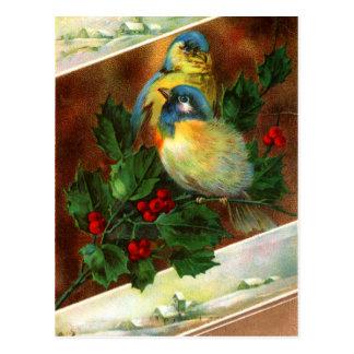 Postal del navidad del pájaro del Victorian