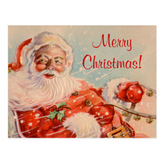 Postal del navidad del paseo del trineo de Santas