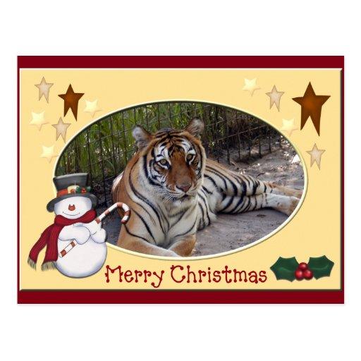 Postal del navidad del tigre de Bengala