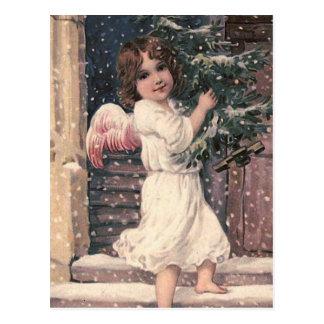 Postal del navidad del vintage de la entrega del