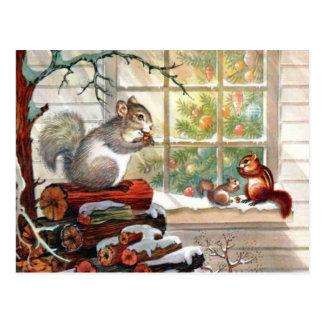 Postal del navidad del vintage de las ardillas