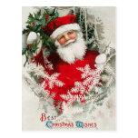 Postal del navidad del vintage de Papá Noel
