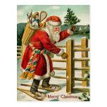 Postal del navidad del vintage de Santa