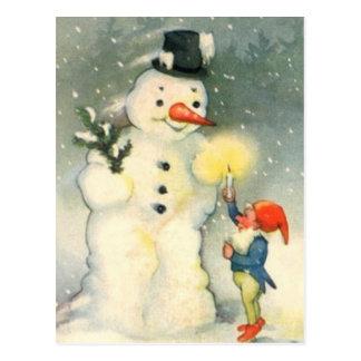 Postal del navidad del vintage del duende y del
